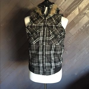 Gray Plaid Hooded Fur Vest